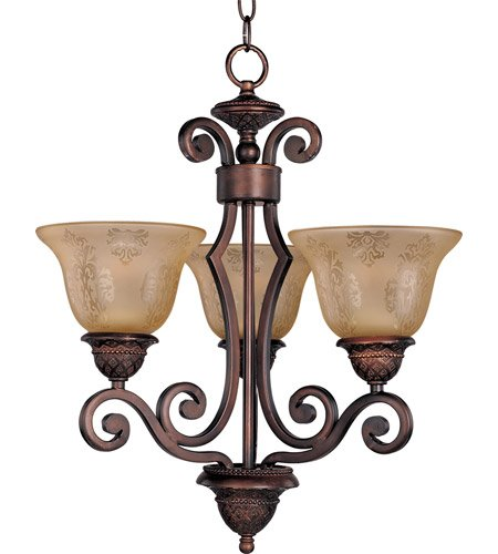 (Maxim 11235SAOI Symphony 3-Light Chandelier Single-Tier Chandelier, Oil Rubbed Bronze Finish, Screen Amber Glass, MB Incandescent Incandescent Bulb , 60W Max., Dry Safety Rating, Standard Dimmable, Metal Shade Material, Rated Lumens)
