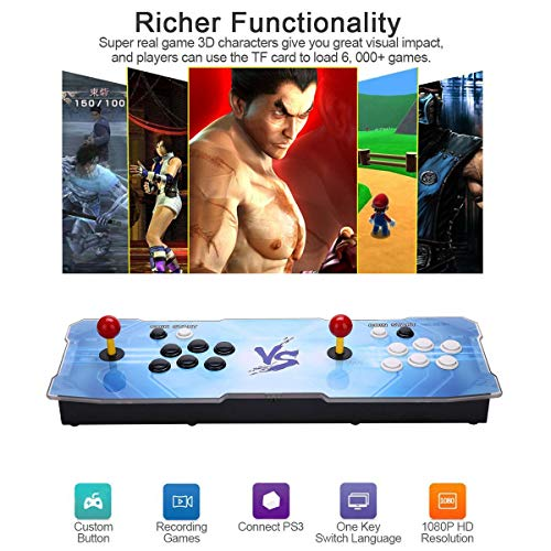 3D Pandora Key Retro Arcade Video Game Console | No Games Pre-loaded | Full HD (1920x1080) Video | 2 Player Game Controls | Support 4 Players | Add More Games | HDMI/VGA/USB/AUX Audio Output by HAAMIIQII (Image #3)