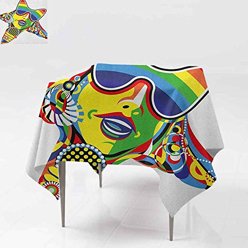 AndyTours Tablecloth for Kids/Childrens,Popstar Party,Abstract Design in Rainbow Colors Art in Shape of Starfish Performer Woman,for Square and Round Tables,54x54 Inch Multicolor