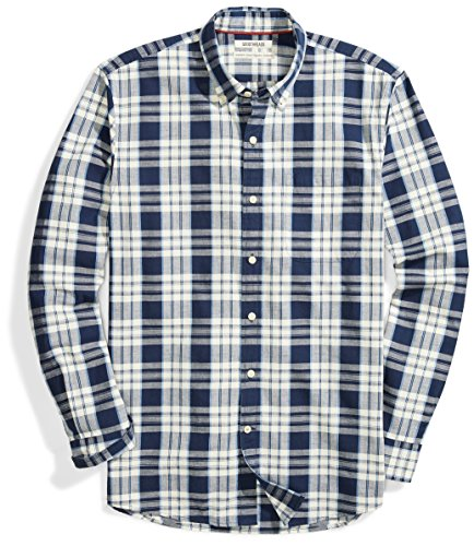 Goodthreads Men's Standard-Fit Long-Sleeve Plaid Chambray Shirt, Windowpane, X-Large ()