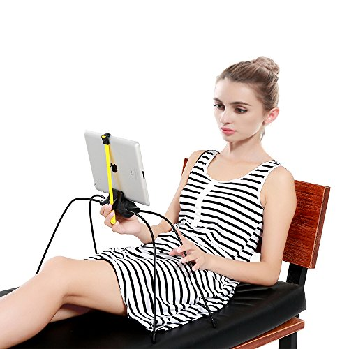 Upgraded Adjustable Stand for Tablet and Cell Phone,Universal Gooseneck Legs Smartphone iPad Holder Stand for Bed,Sofa,Table or Any Smooth Surface and Uneven Surfaces (Black)