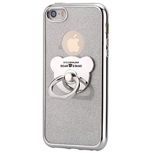 Price comparison product image iPhone 5S/SE Case,IKASEFU Bear Ring Holder Shiny Kickstand Back Shockproof Luxury Glitter Sparkly Bling Cute Soft TPU silicone Thin Bumper Protective Cover for iPhone 5S/SE,Silver