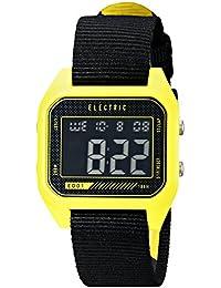 Men's EW0110020027 ED01 Nato Band Digital Display Japanese Quartz Black Watch, YELLOW/COLOR BLOCK