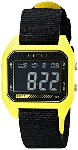 Block Ss Watch (Electric Men's EW0110020027 ED01 Nato Band Digital Display Japanese Quartz Black Watch, YELLOW/COLOR BLOCK)
