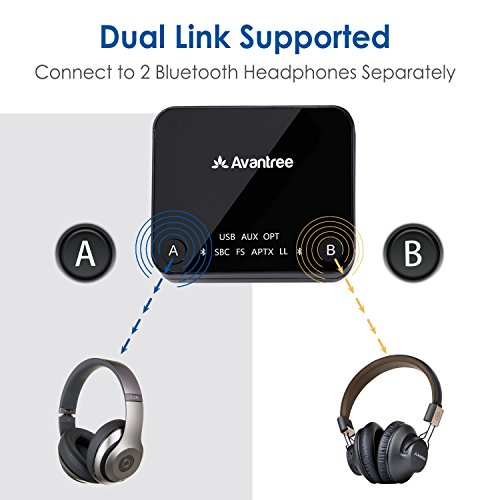 Large Product Image of Avantree aptX LOW LATENCY support Bluetooth Audio Transmitter for TV, DUAL LINK, NO DELAY, 100ft Long Range, OPTICAL, 3.5mm AUX & RCA Wireless Adapter for PC - Audikast [3-Year Warranty]
