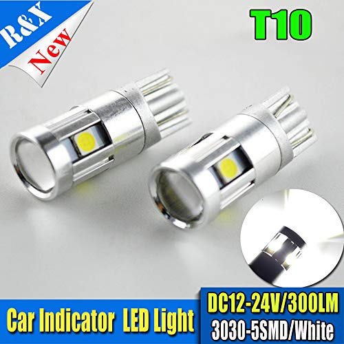 2PCS T10 Wedge 5-SMD 3030 Cool White LED Light bulbs AC12-24V W5W 2825 158 192 168 194, 300LM