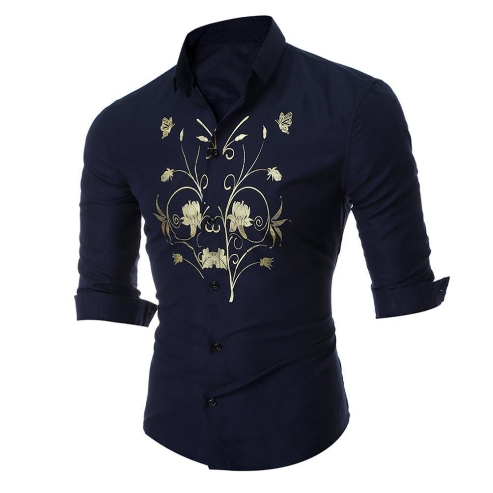 Men's Formal Shirt Long Sleeve Print Slim Fit Prom Gift Button Down Shirt Blouse Zulmaliu (XL, Navy)