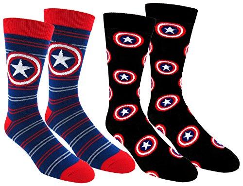Disney Marvel Mens Captain America Casual Crew Socks, Navy Blue/Black, Fits shoe sizes 6-12