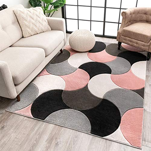 Well Woven Hilda Blush Pink Modern Geometric Circles & Boxes Pattern Area Rug 8x10 (7'10