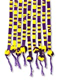 Purple and Gold, Spirit Wear, Set of 3,Team Colors, Belts with Pom Poms, Pep Rally Apparel Supplies, Hair Tie, Hatband, Wrap Around Self Tie .75 x 42 Inches