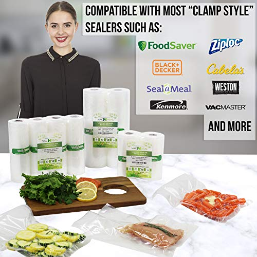 12 Large 8'' X 50' Vacuum Saver Rolls Commercial Grade Food Sealer Bags By Commercial Bargains by Commercial Bargains (Image #2)