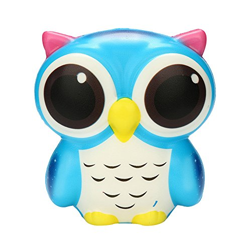 WFFO Slow Rising Squishy Toy, Adorable Owl Squishy Slow Rising Cartoon Doll Cream Scented Stress Relief Toy for Kids Party Toys Stress Reliever Toy (Blue)