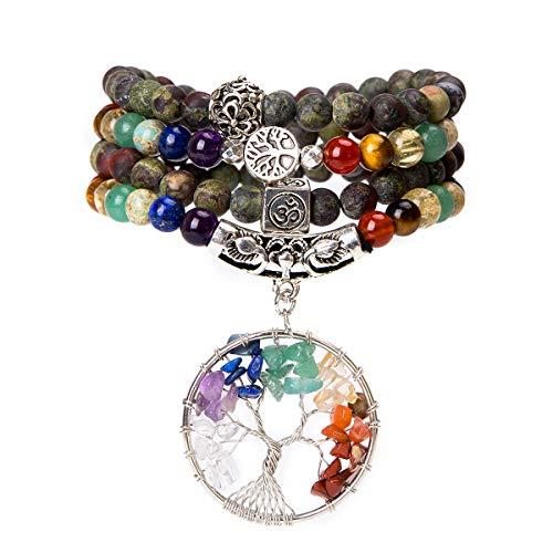 Bivei 108 Mala Beads Bracelet - 7 Chakra Tree of Life Real Healing Gemstone Yoga Meditation Mala Prayer Bead Necklace(Blood Stone) Chakra Stone Strand Necklaces