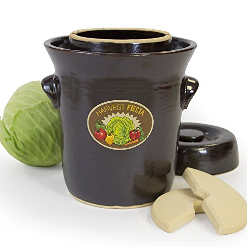 5-Liter TSM Products 31040 Harvest Fiesta Fermentation Pot with Stone Weight