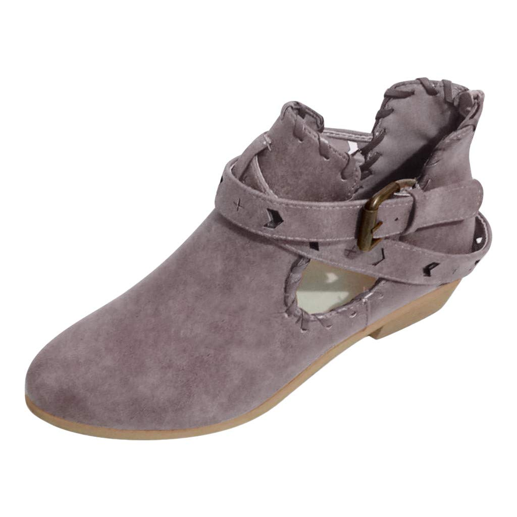 Kiminana Women's Casual Vintage Roman Plus Size Buckle Low Heel Booties Stylish Closed Pointed Toe Ankle Booties Purple by Kiminana