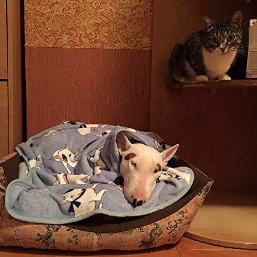 Dog Blanket Pet Soft Fluffy Fleece Bull Terrier Print Pet Cat Bed Blanket Throw (Blue)