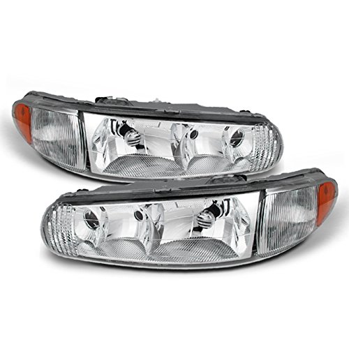 For Buick Century/Regal OE Replacement Chrome Bezel Headlights Driver/Passenger Head Lamps Pair New