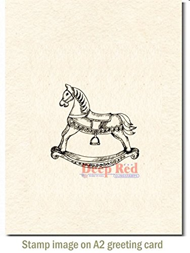Buy deep red stamps rocking horse rubber stamp