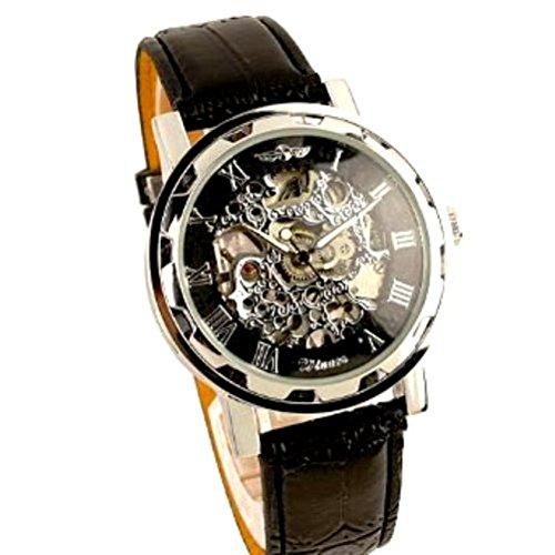 Winner - Herrenuhr - Selbstaufzug mechanische Uhr - Leder armbanduhr - silbern & schwarz