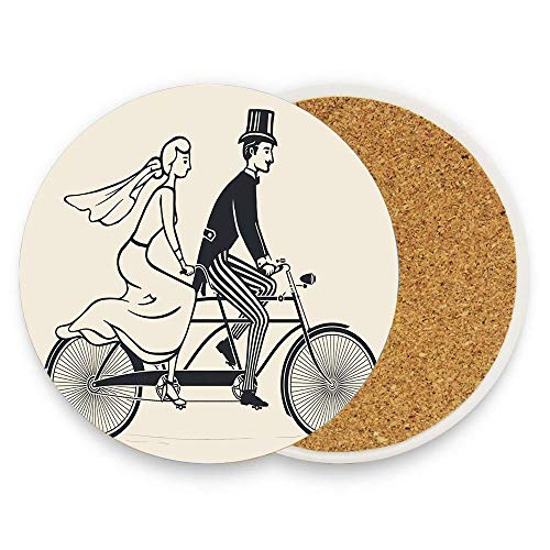 AEensisanxinLuggage Bride and Groom Riding Vintage Tandem Bicycle Newlyweds Save The Date Coaster for Drinks, Ceramic Round Cork Coaster Pack Of 1