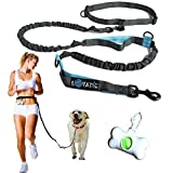 Premium Hands Free Dogs Leashes - Retractable Leash For Dogs - Dual Waist Belt Pets Dog Leash To Run & Walk - Reflective Stitching Adjustable Bungee Leash For Large Dogs