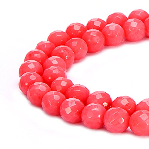 BRCbeads Natural Pink Coral Gemstone Loose Beads Faceted Round 6mm Crystal Energy Stone Healing Power for Jewelry Making-Natural Coral Dyed Pink Color