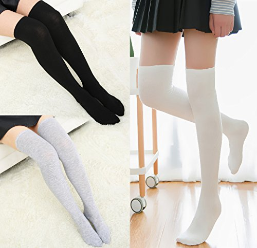 Chalier 3 Pairs Womens Long Socks Over Knee Stockings, White, Gray, Black, OS by Chalier (Image #6)'