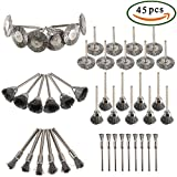 #3: Wire Wheel Brush Set, Dayree 45pcs Steel Buffing polishing Brushes Set Accessories with 1.57'' shank for Dremel Die Grinder Rotary Tool Kit