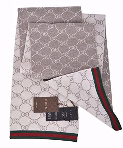 Gucci+Men%27s+Taupe+Wool+Reversible+GG+Guccissima+Red+Green+Stripe+Scarf
