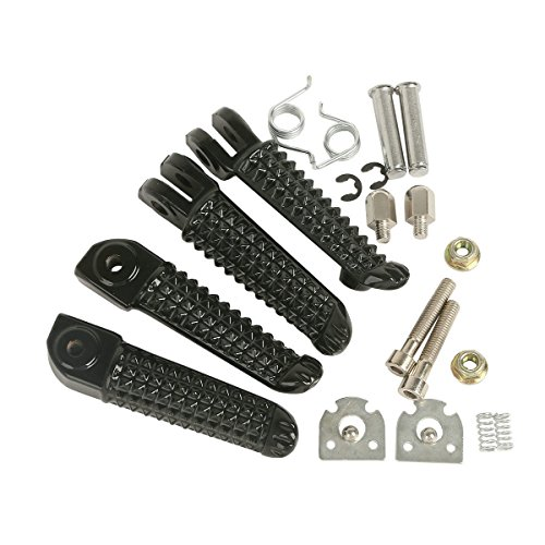 Black Front Rear Footrests Foot Pegs For Yamaha YZF R6 2003-2012 06 07 08 09 (Crf50 Iron)