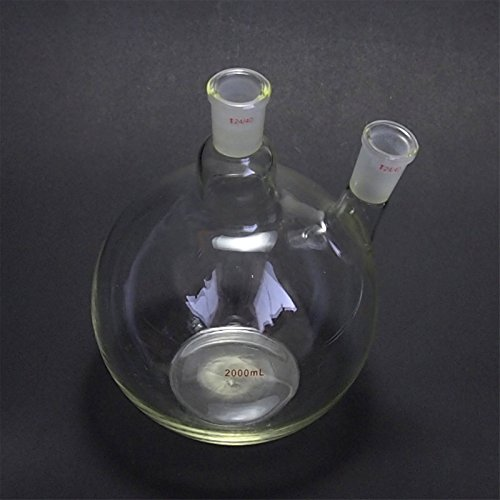 Deschem 2000ml,24/40,2-Neck,Flat Bottom Glass Flask,2L,Two Necks,Laboratory ()