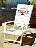 Tommy Bahama Folding Adirondack Chair Made of 100% Solid Eucalyptus Wood | No Assembly Required ! (White)