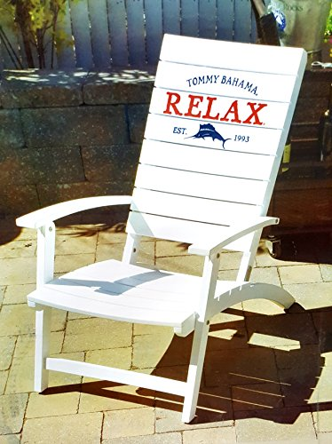 Tommy Bahama Folding Adirondack Chair Made of 100% Solid Eucalyptus Wood | No Assembly Required ! (White) by tommy Bahama