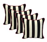 Set of 4 - Indoor / Outdoor 17'' Square Decorative Throw / Toss Pillows - Black and White Stripe w/ Hot Pink Piping / Cording - Zipper Cover & Insert