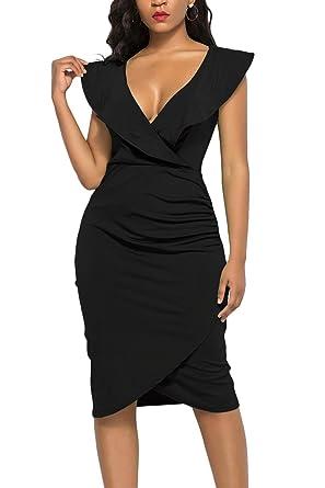 1137058fe6c WIWIQS Women s Sexy V Neck Bodycon Sleeveless Ruffle Dress Front Slit  Bandage Midi Club Dresses