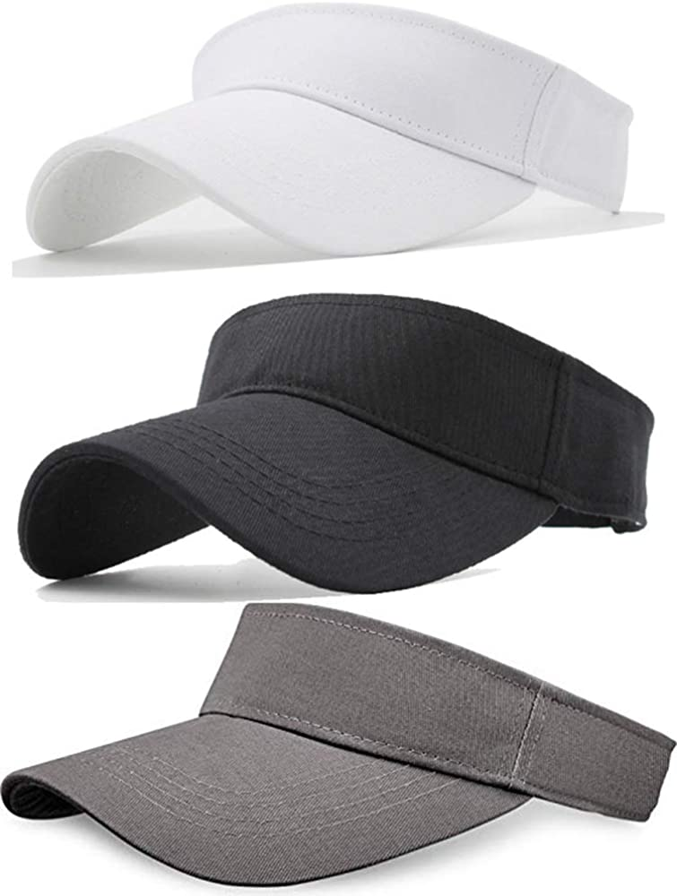 Sikuer Sun Visor, 3pcs Visor Hat, Cotton Outdoor Sport Beach Golf Visor Cap for Women Men 3 Color Packed, Adjustable