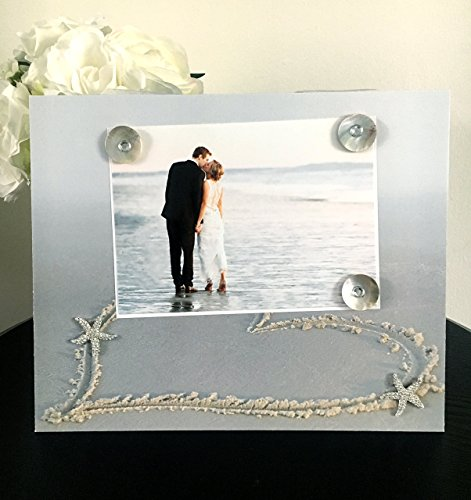 Heart In Sand With Rhinestone Starfish - Beach Tropical Honeymoon Magnetic Wedding Picture Frame Handmade Gift Present Home Decor Size 9 x 11 Holds 5 x 7 Photo