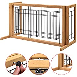 Eight24hours Indoor Pet Fence Gate Free Standing Adjustable Dog Gate Solid Wood Construction + FREE E-Book