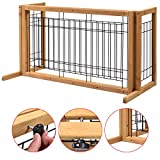 Indoor Pet Fence Gate Free Standing Adjustable Dog Gate Solid Wood Construction Bonus free ebook By Allgoodsdelight365