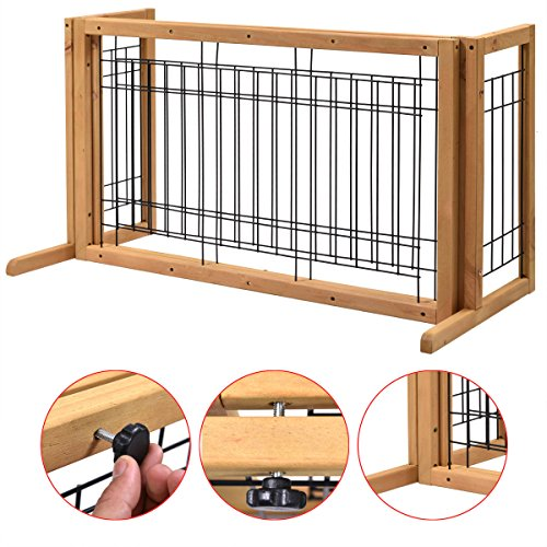 indoor-pet-fence-gate-free-standing-adjustable-dog-gate-solid-wood-construction
