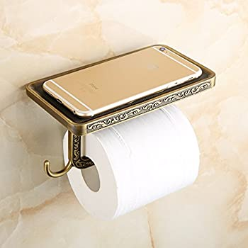 beelee wholesale and retail antique carving toilet roll paper rack wiht phone shelf wall mounted bathroom paper holder and hook
