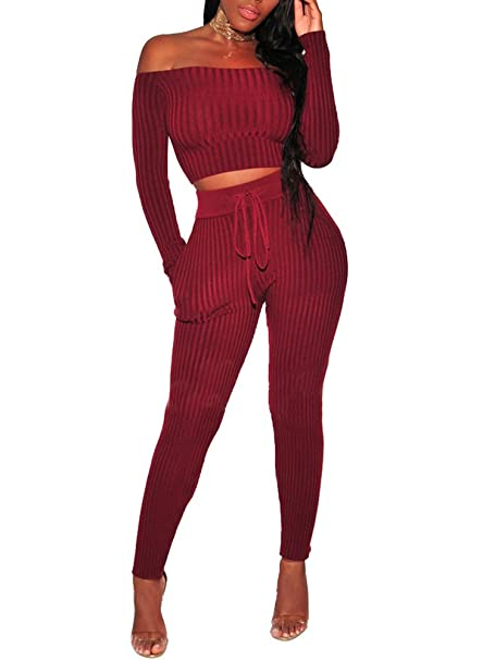 1d9539d2fba Amazon.com  PlushZone Women s Sexy Sweater 2 Pieces Outfits Casual Bodycon  Long Sleeve Off Shoulder Top Long Skinny Jumpsuits Rompers  Clothing
