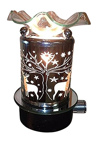 L&V Electric Metal Plug In Night Light Tart Burner Oil Warmer Deer In Woods Cabin Decor