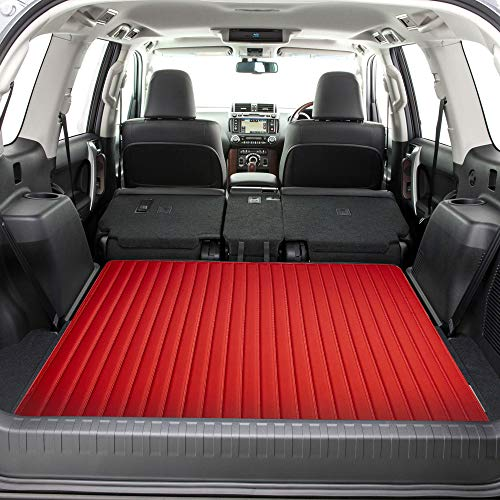 """FH Group F16500 Deluxe Heavy-Duty Faux Leather Multi-Purpose Cargo Liner, Striped, 46"""" : 40"""" x 46"""", Red Color - Fit Most Car, Truck, SUV, or Van"""