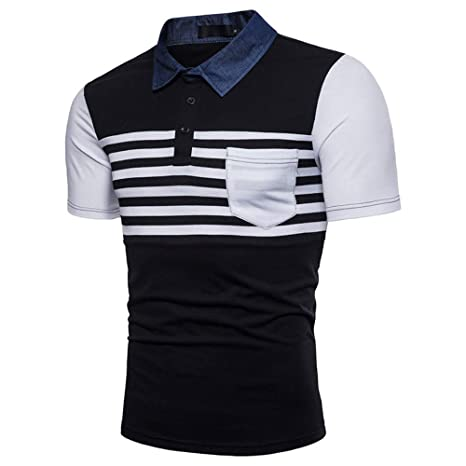 NISHISHOUZI Nueva Camiseta Hombre Polo Patchwork Verano Hombres ...