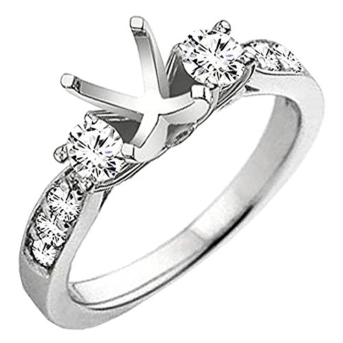 Diamond Ring Mounting - 0.45 Carat (ctw) 18K White Gold Round Diamond Bridal Semi Mount Engagement Ring 1/2 CT (Size 6)