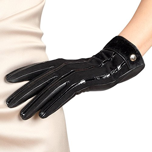ELMA Women's Touchscreen Italian Nappa Leather Winter Gloves, Suede Leather Back and Patent Leather Stripe (7, Black)