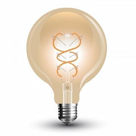 V-TAC G125 bombilla vintage LED con rosca Edison E27/Se estándar Extra blanco cálido 2200 ...