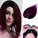100% Human Hair Crown Toppers Silk Base Top Hairpieces Clips in Hair Topper for Women with White Gray and Thinning Hair #99J Wine Red 14 inches 23g Review