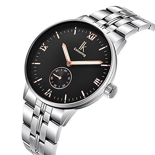 Gute Men Automatic Watch,Elegant White Dial Automatic Stainless Steel Bracelet Men Watch ()